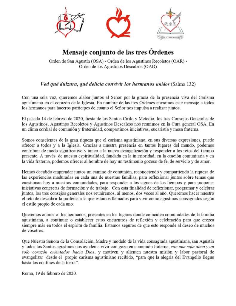 Mensaje conjunto de las Órdenes Agustinianas