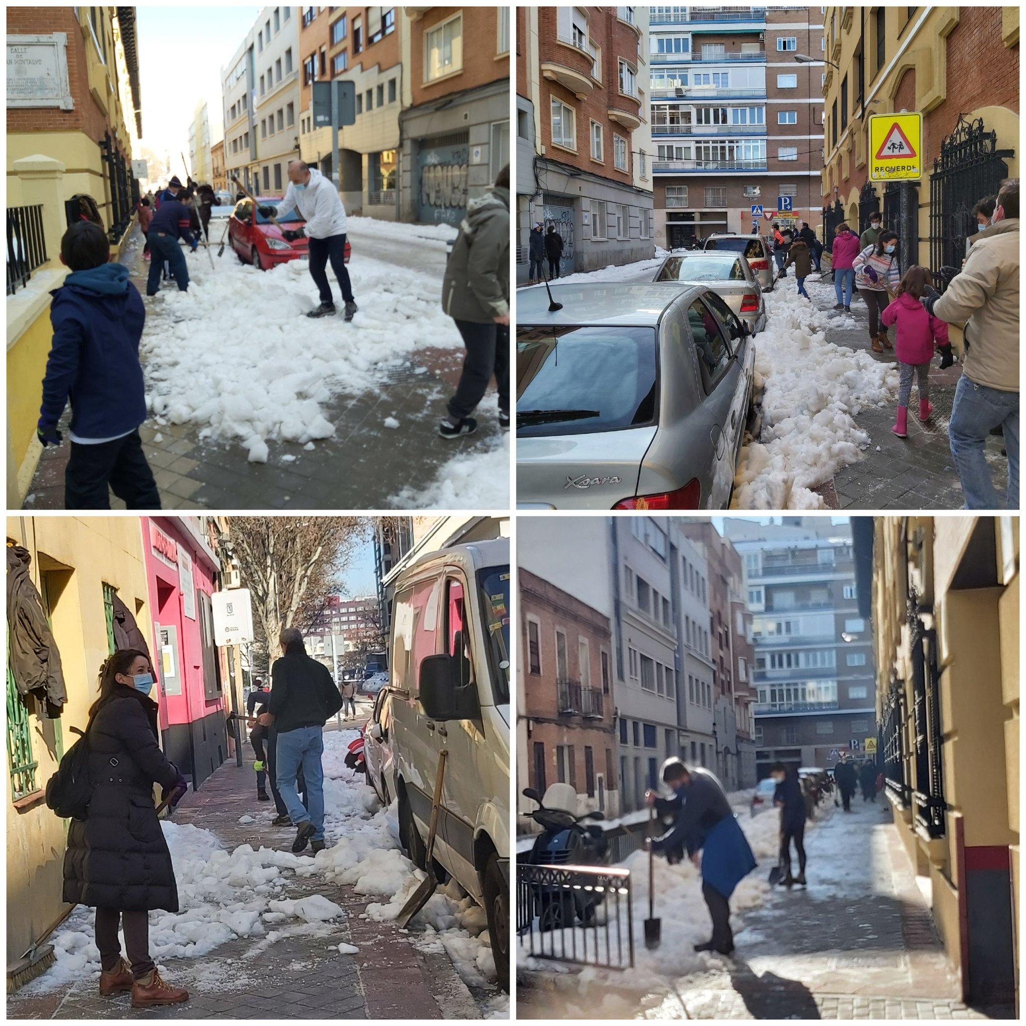 Padres, profesores y alumnos del Colegio Nuestra Señora del Buen Consejo de Madrid trabajaron juntos para retirar nieve de los accesos al centro.