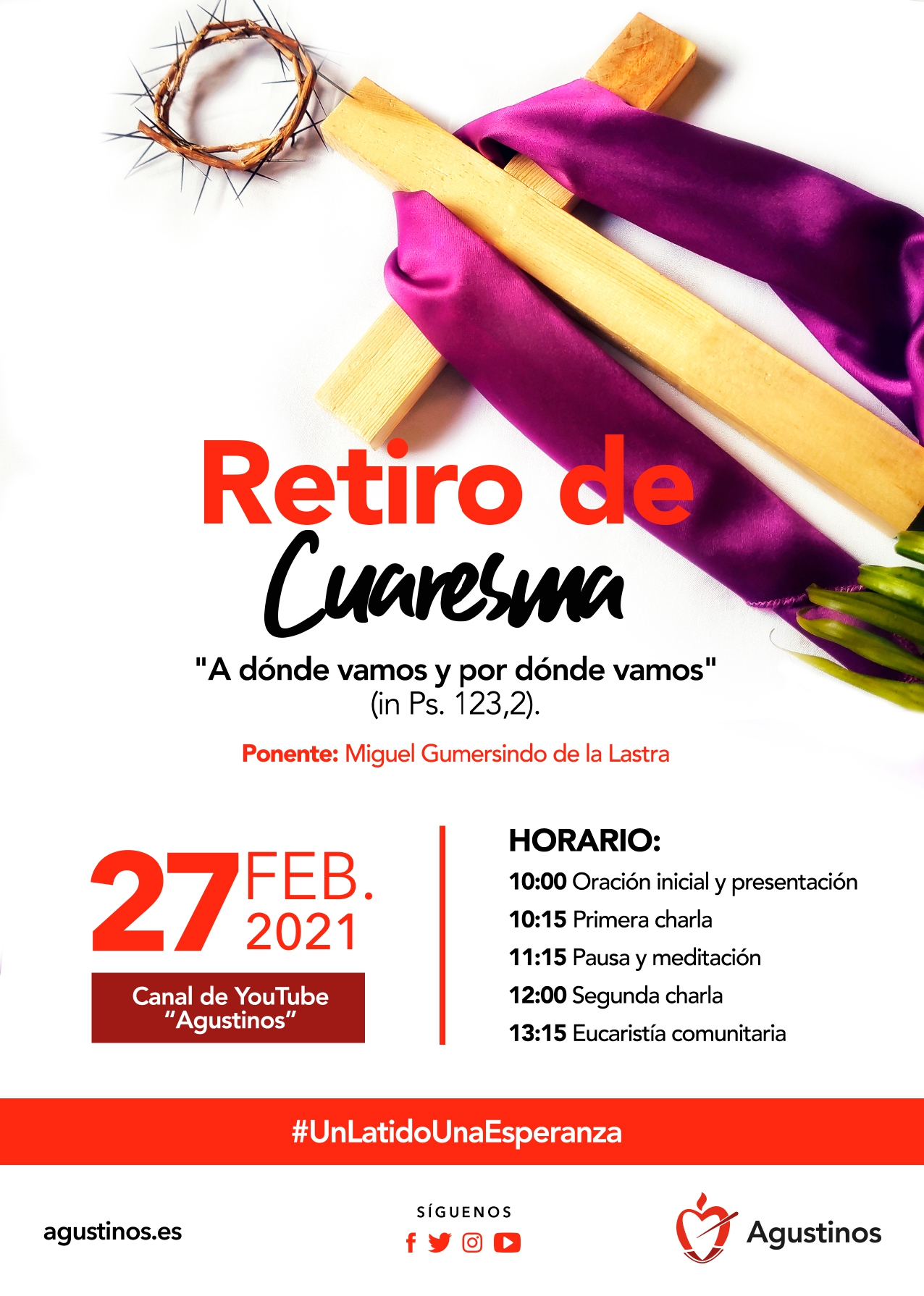 El próximo sábado 27 de febrero, a partir de las 10:00 horas, los religiosos agustinos de la Provincia participarán en su habitual retiro de Cuaresma.