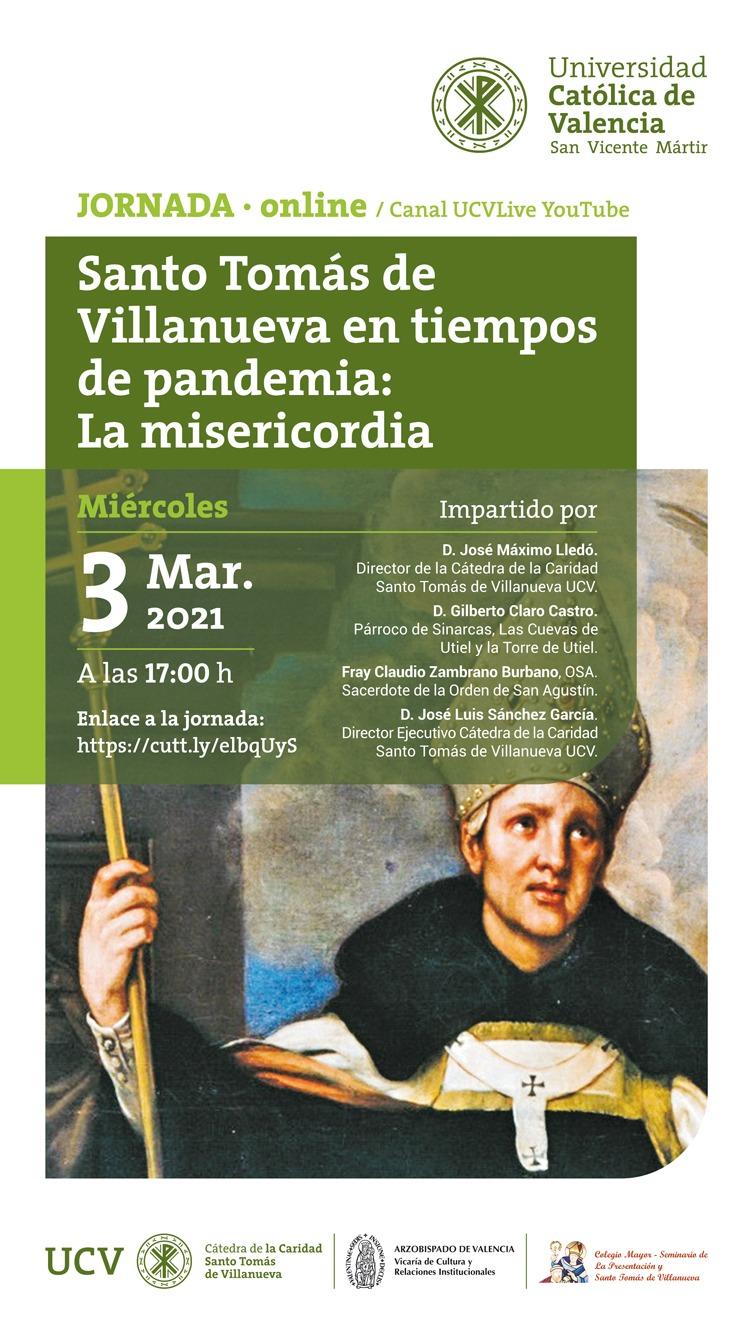"""La Universidad Católica de Valencia """"San Vicente Mártir organiza, el 3 de marzo, una jornada on line sobre la espiritualidad del santo agustino."""